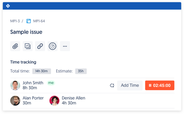 Start timer, add time, watch progress… from time tracking panel