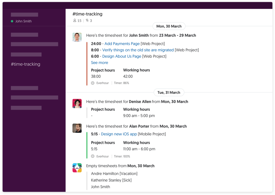 How Everhour integrates with Slack