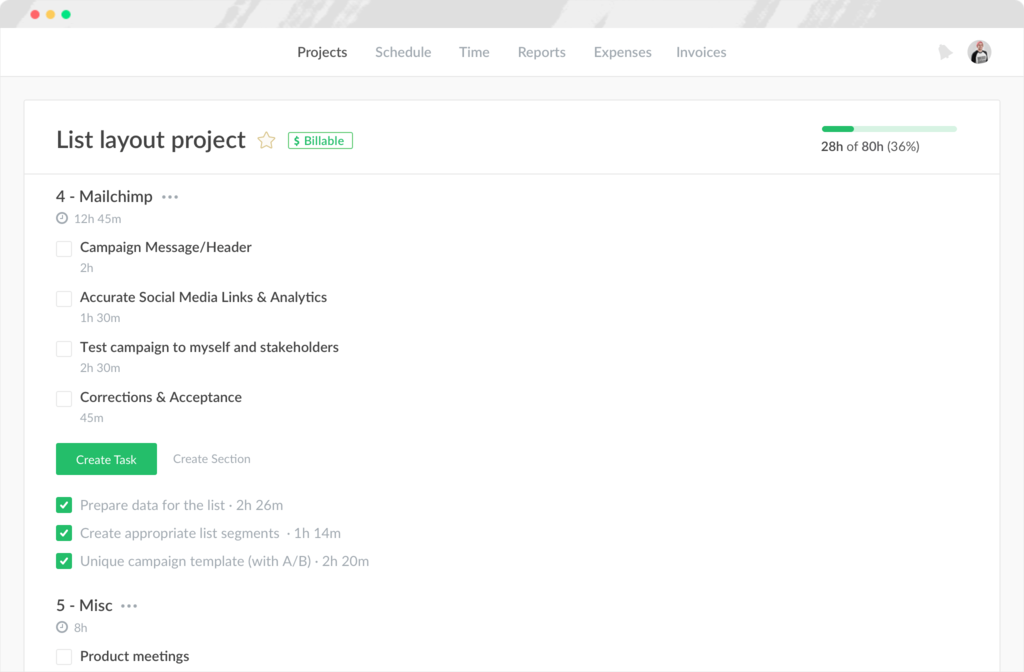 Projects list-view in Everhour screenshot