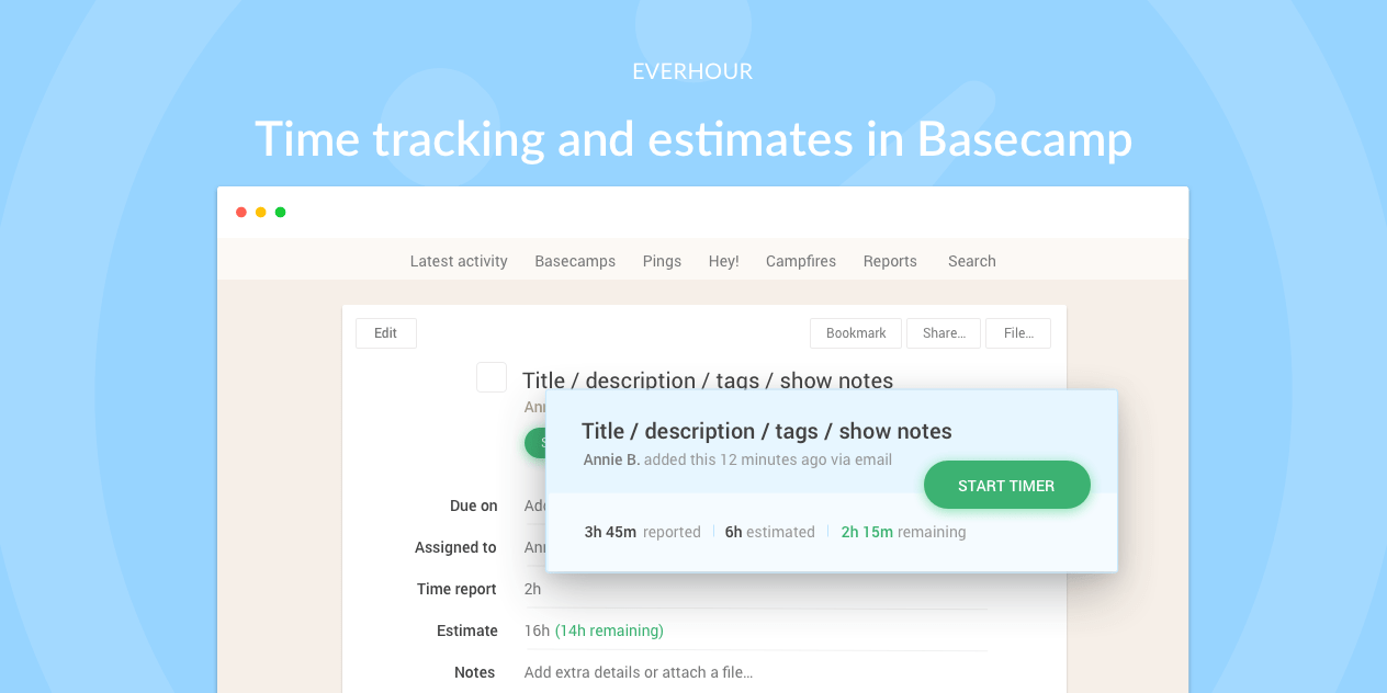 Time Tracking in Basecamp