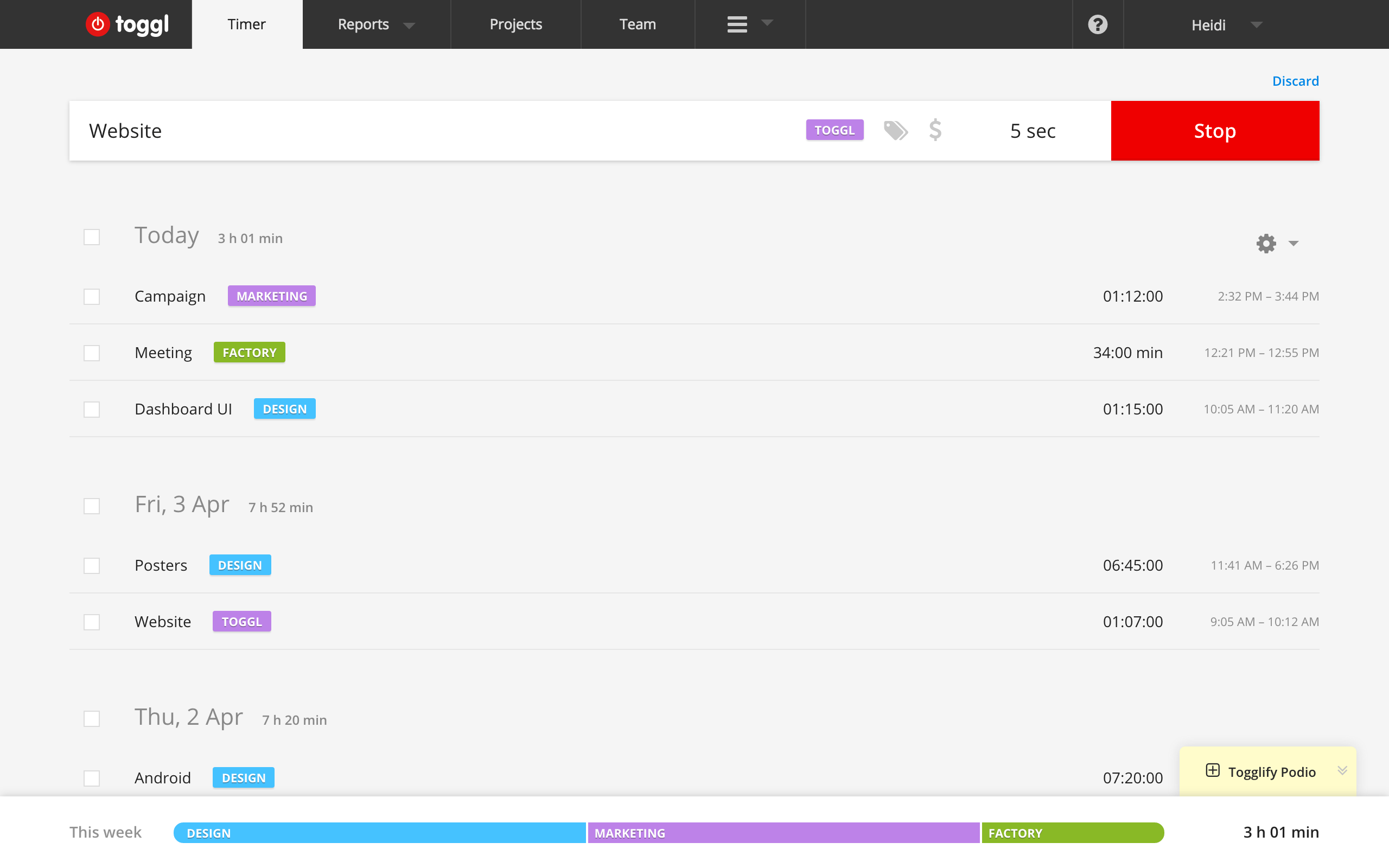 time tracking software - toggl