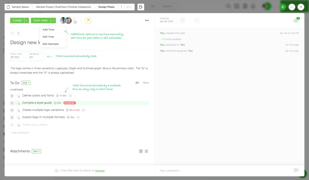 Everhour ClickUp Integration - Task Details