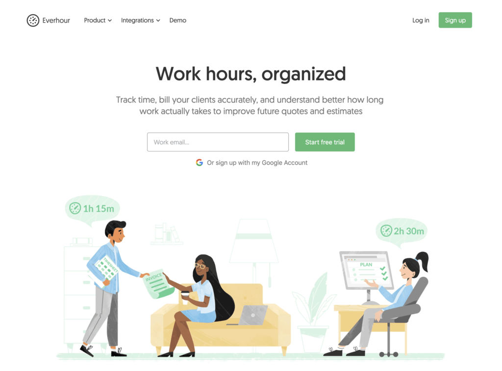 Everhour landing page preview