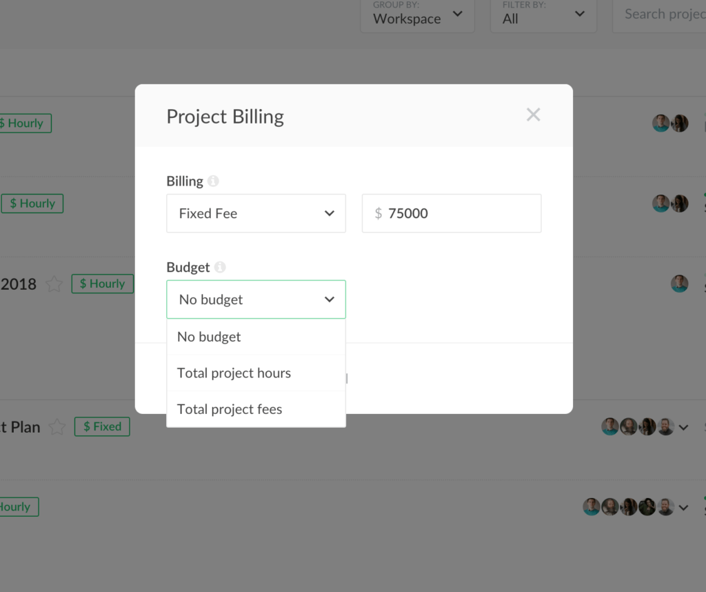 projects get a fixed-fee billing method