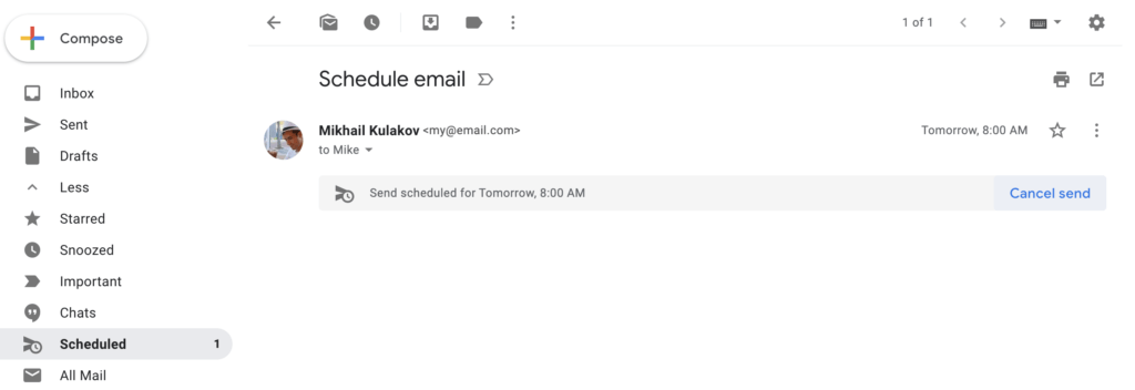 cancel email by schedule