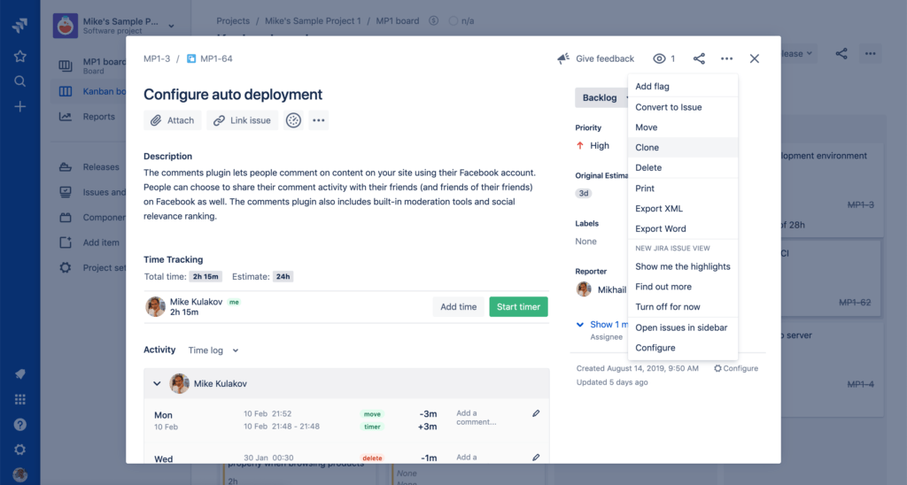 Jira project management - Clone option