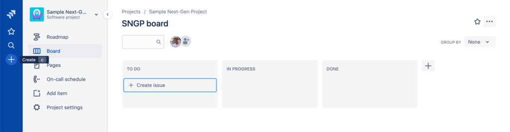 Jira project management - Create issue