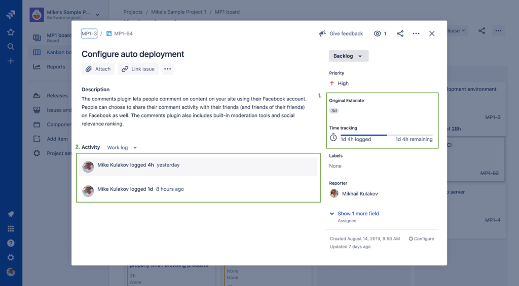 Jira project management - Jira default time tracking