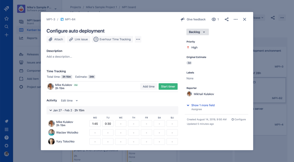 Jira project management - Jira Everhour time tracking add-on