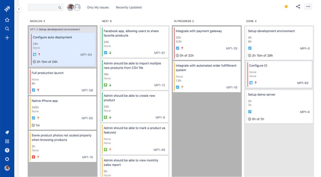 Jira project management - High-contrast mode