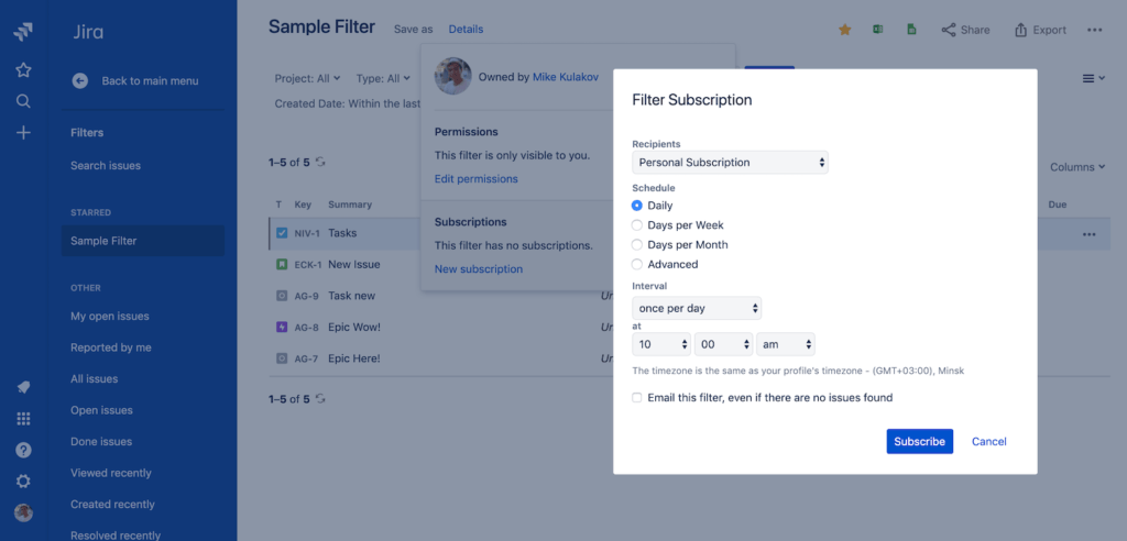 Jira project management - Subscribe to a filter