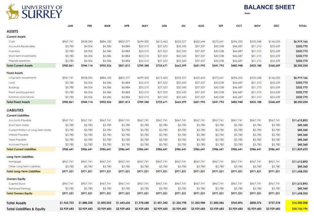Balance Sheet Monthly Template -Google Docs