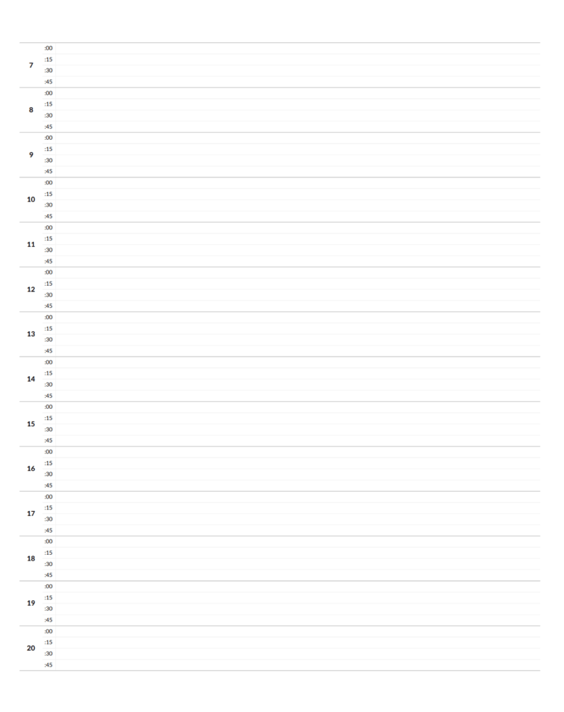 time management worksheet for accurate time blocking