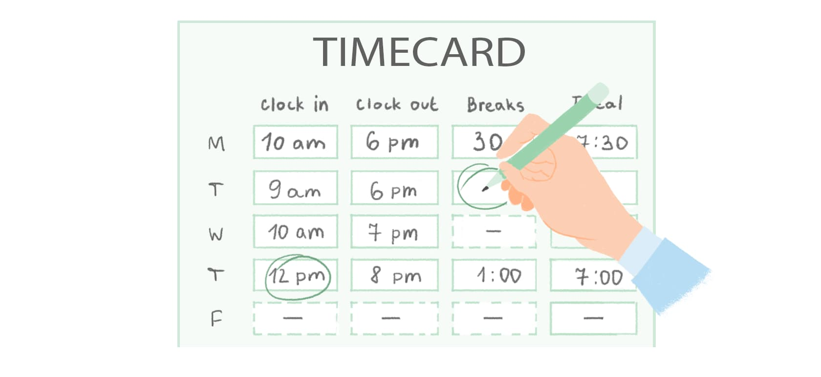 Time Card And Timesheet Calculator Weekly Biweekly With Lunch Breaks