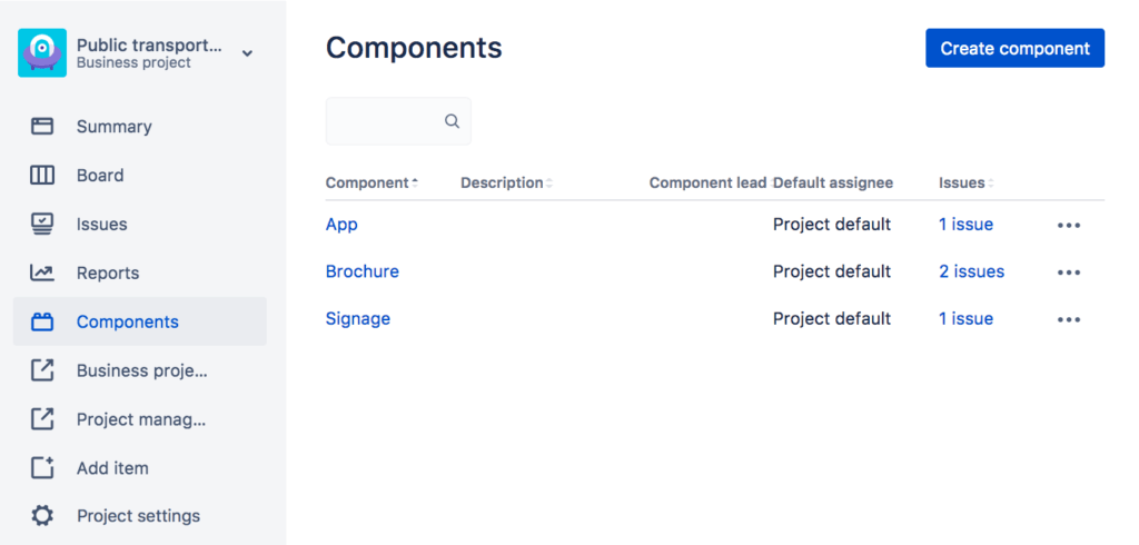 How to use Jira - components