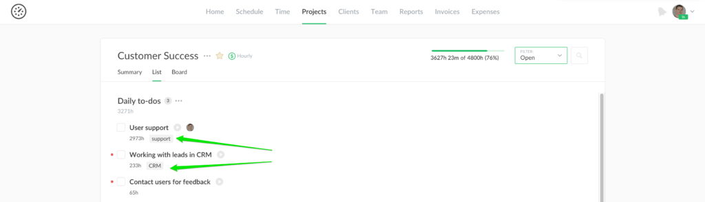 task assignee in internal projects, restore removed tasks and resync reports
