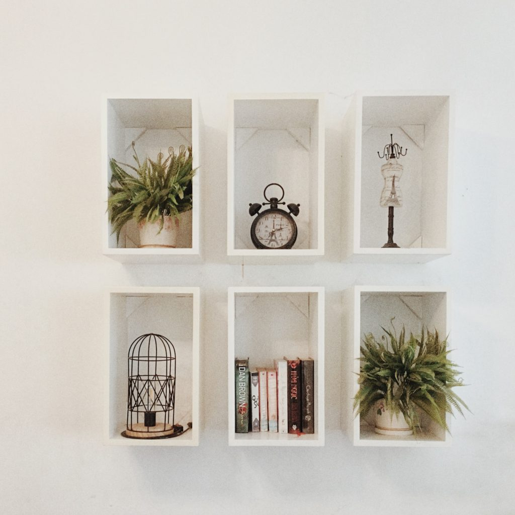 home office organization system: floating cubbies