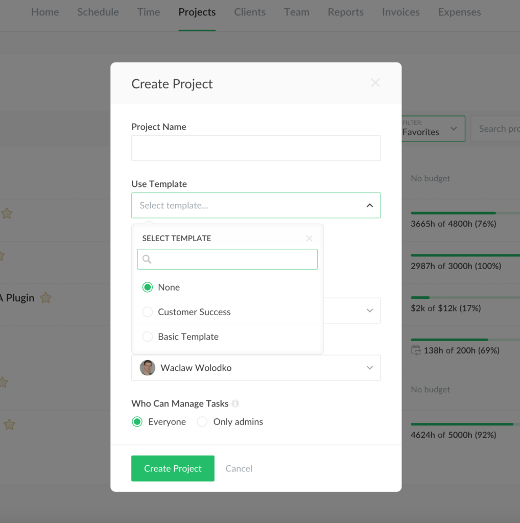 optional sections and templates in internal projects