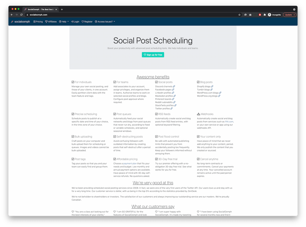 free social media scheduling tools - SocialOomph