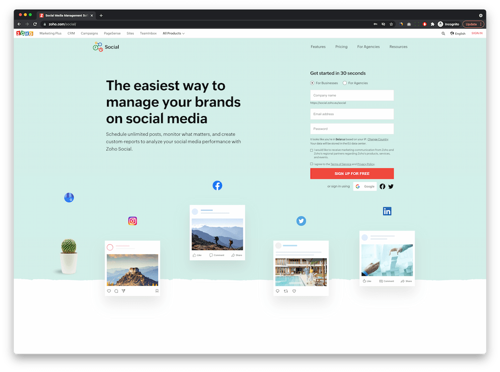 free social media scheduling tools - Zoho Social